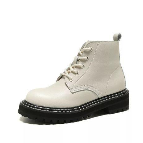 Ботинки кожаные на шнурках, стильные, трендовые