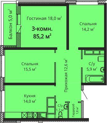 """В продаже 3 к.кв ЖК """"Скай Сити"""" от надежного застройщика Будова."""