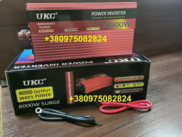 Инвертор Преобразователь тока 12 220 4000 Ватт, максимальная 8000 ватт