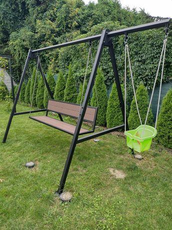 Huśtawka ogrodowa stelaż ławka