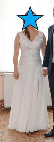 zwiewna suknia ślubna, śmietankowa, rozm 38