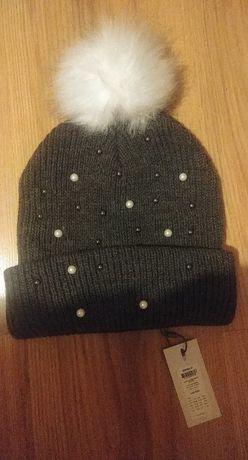 ONLY czapka z pomponem i perełkami szara - one size, nowa z metką