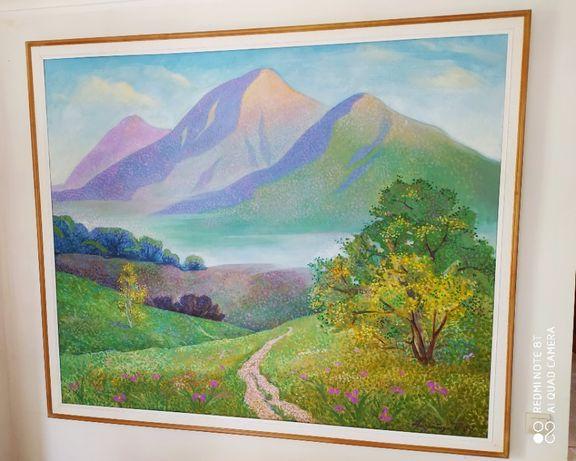 Картина горы, пейзаж, масло, холст 190см х160см, отличный подарок