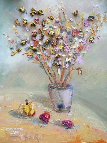 Нежный натюрморт с цветами  60х80 масляные краски, холст