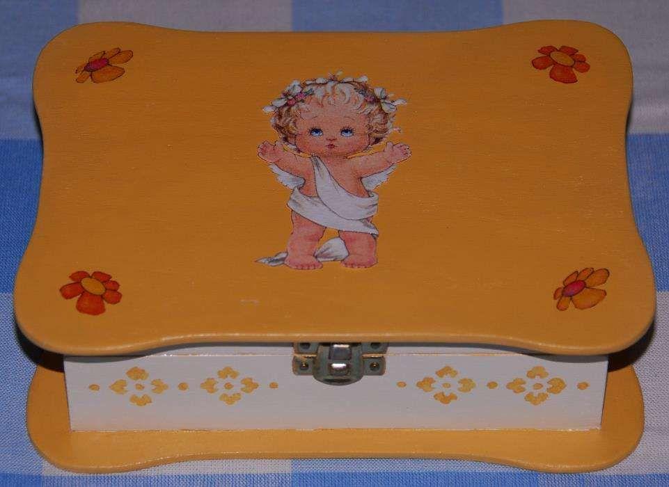 Caixa Anjo pintada à mão com decoupage (nova) Alvalade - imagem 1