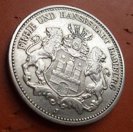 """Серебряная монета Германия Гамбург """"На Страже Империи"""". Редкая монета"""