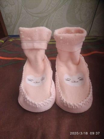 Махровые носки-чешки,носки с кожанной подошвой