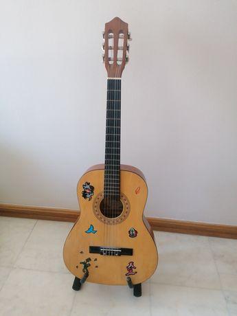 Guitarra clássica para iniciantes (criança) + afinador + suporte