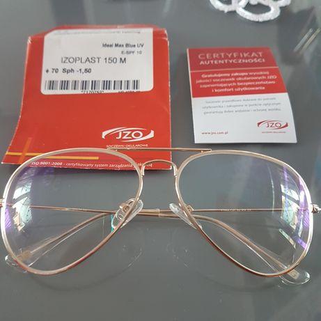 Okulary korekcyjne aviatory złote -1,5 na obu