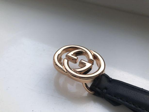 Pasek damski Premium skóra czarny GG Gucci złota klamra czarny lv XS S