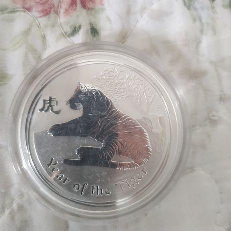 1 австралийский доллар серебро 2010 год тигра
