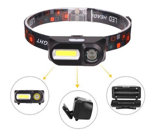 Налобный фонарь KX-1804 XPE+COB USB 2 диода + 18650