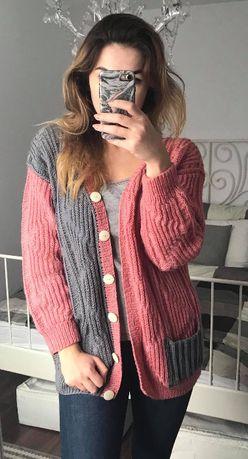 Dwukolorowy sweter handmade rózowo-szary L 40 42 XL