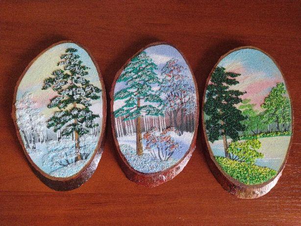 Картина на спиле дерева из самоцветов цена за 3 шт