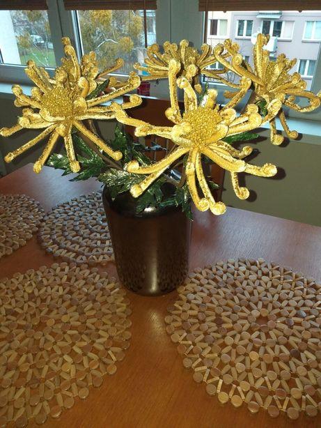Bukiet kwiatów sztucznych, brokat, śliczne 5 sztuk