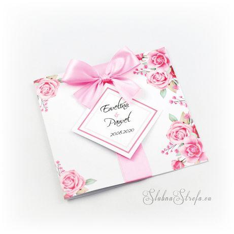 Zaproszenie ślubne kokardka kwiaty zaproszenia okolicznościowe
