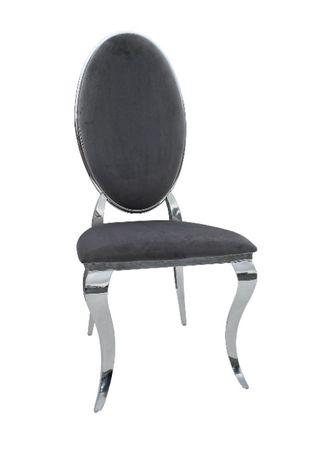 Nowoczesne Krzesło Chromowane SZARE FT-220H GLAMOUR-SILVER