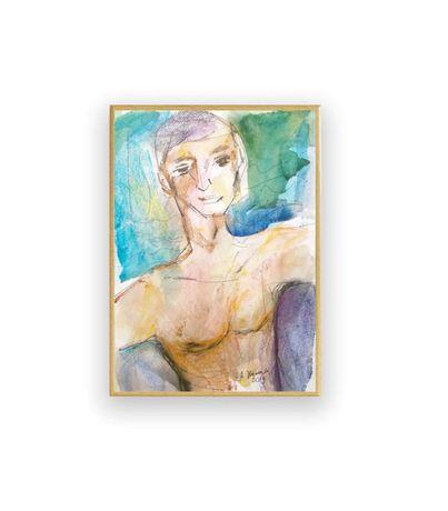 akwarela z meżczyzną, obraz z pływakiem, rysunek chłopak malowany ręcz