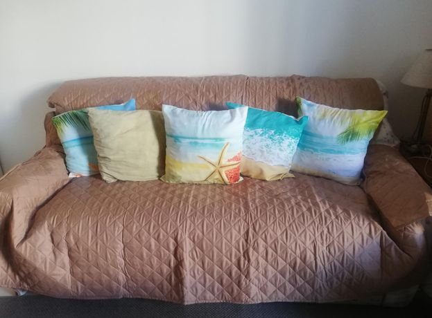 Sofá cama francesa capa e almofadas