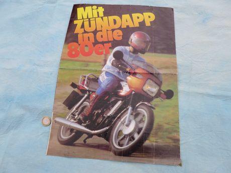 Folheto Zundapp motorizadas motos 80's antigo Alemanha v/ cilindradas