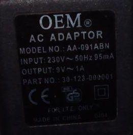 Блок питания AC Adapter 9V, 1A OEM mod AA-091ABN