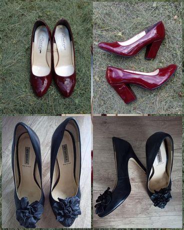 Туфлі бордові 38 розмір• чёрные кожаные туфли лодочки