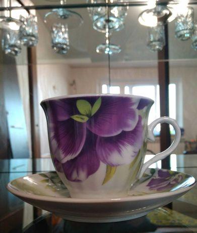 Чайный сервиз 6 персон 12 предметов  фиалка