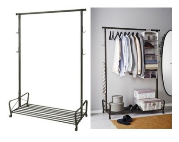 IKEA PORTIS WIESZAK na ubrania PÓŁKA NA BUTY metalowy czarny