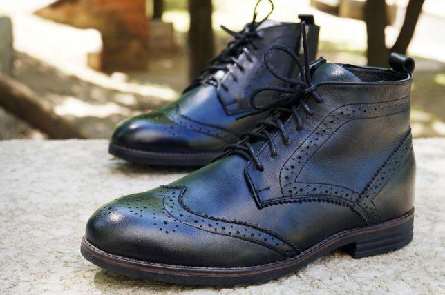 Зимние ботинки броги с мехом. Черная кожа