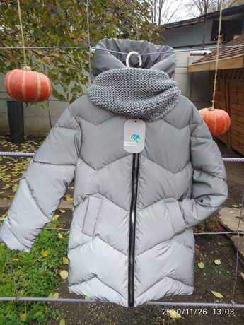 Рефлекторная зимняя куртка-пуховик 134-164 рр