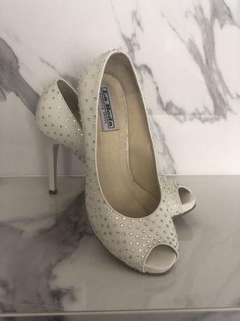 Buty ślubne roz 36-nowe -skóra-kryształy Swarovski