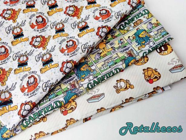 Retalhos Garfield e Asterix Polycotton - 50 x 47 cm