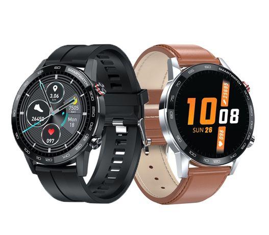 Smart Watch Męski Czarny Zegarek na silikonowym pasku L16