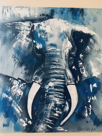 Слон абстрация масло