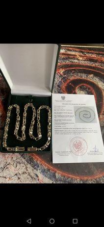 Złoty Łańcuszek Splot Królewski Próba 585/14 Ocechowany Waga 61,5 Nowy