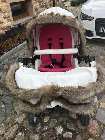 Wózek mima xari biały róż zimowy zestaw