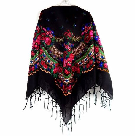 Duża chusta góralska ludowa bawełniana 4 KOLORY chustka folk apaszka