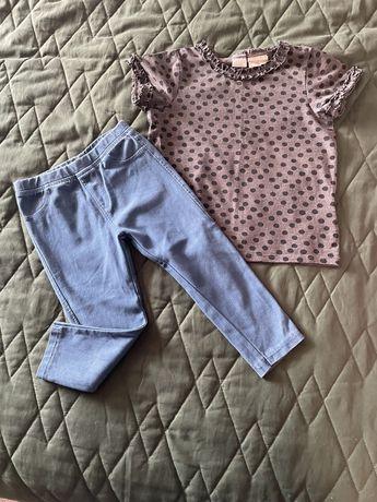 Spodnie Zara i bluzka H&M , rozmiar 92