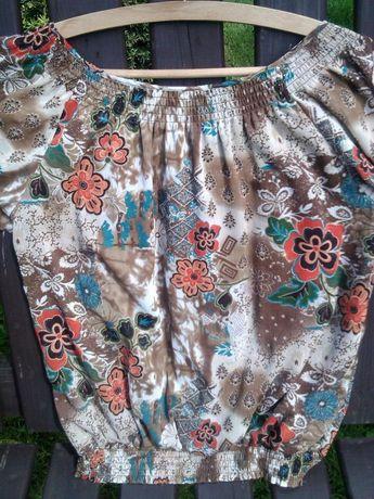 Zwiewna bluzka, kwiaty, zlota nitka L