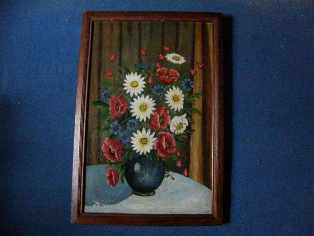 Цветы 1957г. холст масло подпись