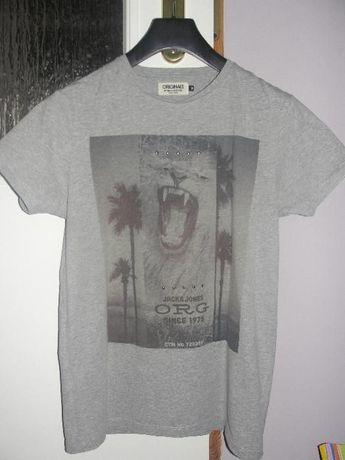 szara koszulka-jack&jones-M-motyw zwierzęcy