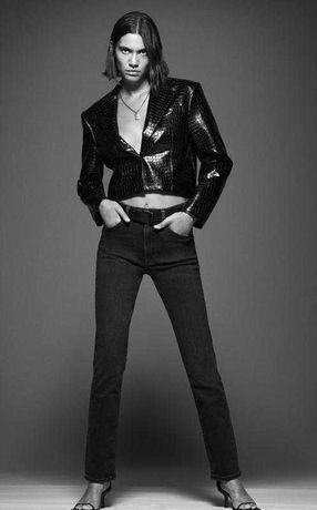 Укороченный жакет, кроп блейзер Zara крокодиловой кожи limited edition