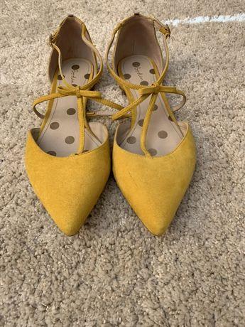BODEN 100% SKÓRA NATURALNA buty skórzane baleriny 42 musztardowe żółte