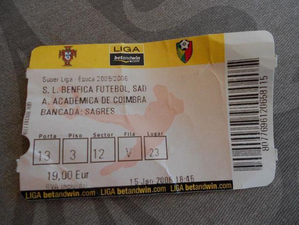 bilhete antigo Benfica