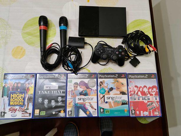 PlayStation 2 PS2 Slim + microfones SingStar + jogos