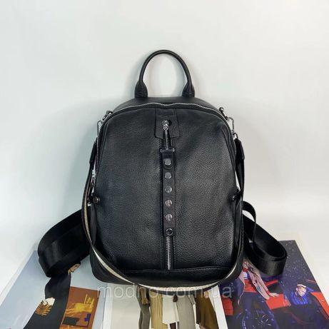Женский кожаный городской рюкзак чёрный Polina & Eiterou жіночий