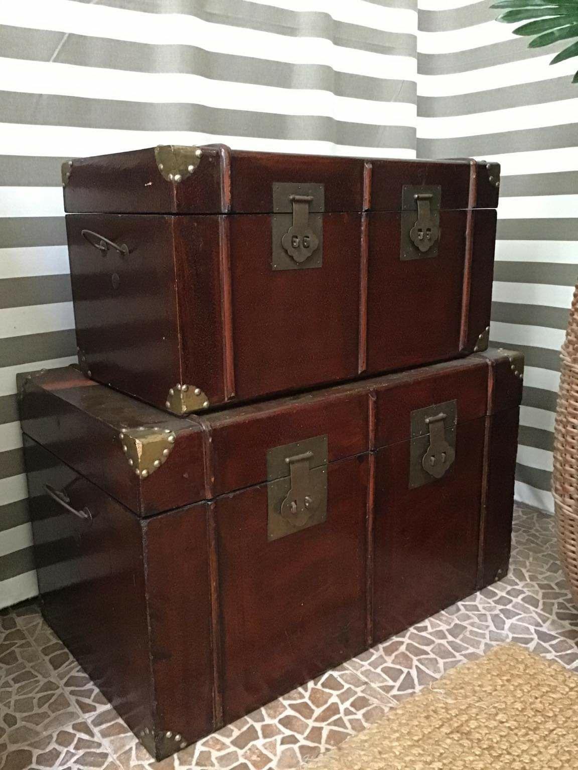 2 arcas, bau, rustico,  oriental,  vintage, decoracao