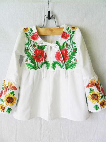 Вышиванка Школьная блузка для девочки Туника Рубашка белая с вышивкой