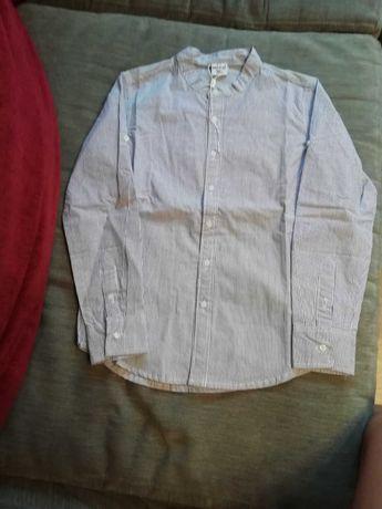 Рубашка на мальчика, белая в синюю полоску, катон