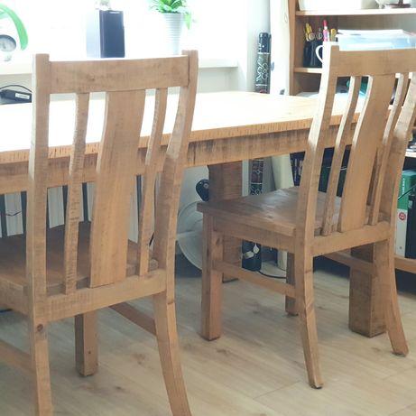 Oryginalny stół 180x90 z litego drewna z krzesłami